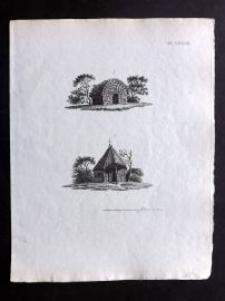 Anon C1800 Antique Print. Study of Old Houses 82